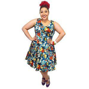 Eva Rose Bold Blue Floral Swing Dress